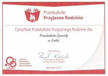 certyfikat przedszkole przyjazne rodzinie